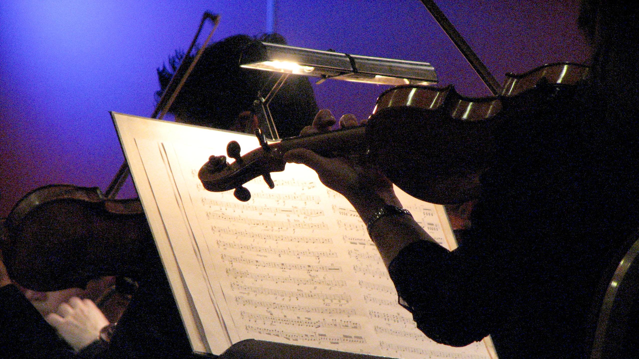 Geige im Detail und Gegenlicht