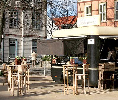 Schokostand auf dem Nicolaiplatz zum Schokoladenfestival