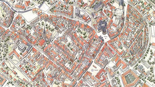 Gezeichneter Stadtplan von der Altstadt Wernigerodes